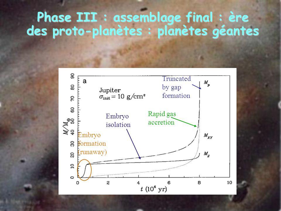 Phase III : assemblage final : ère des proto-planètes : planètes géantes