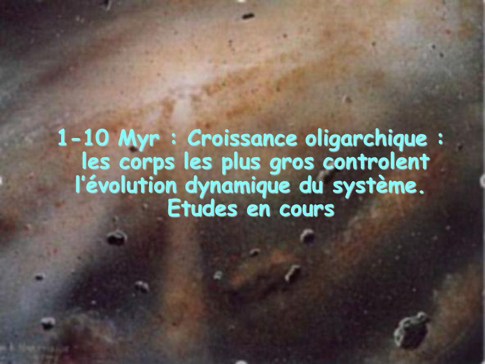 1-10 Myr : Croissance oligarchique : les corps les plus gros controlent l'évolution dynamique du système.