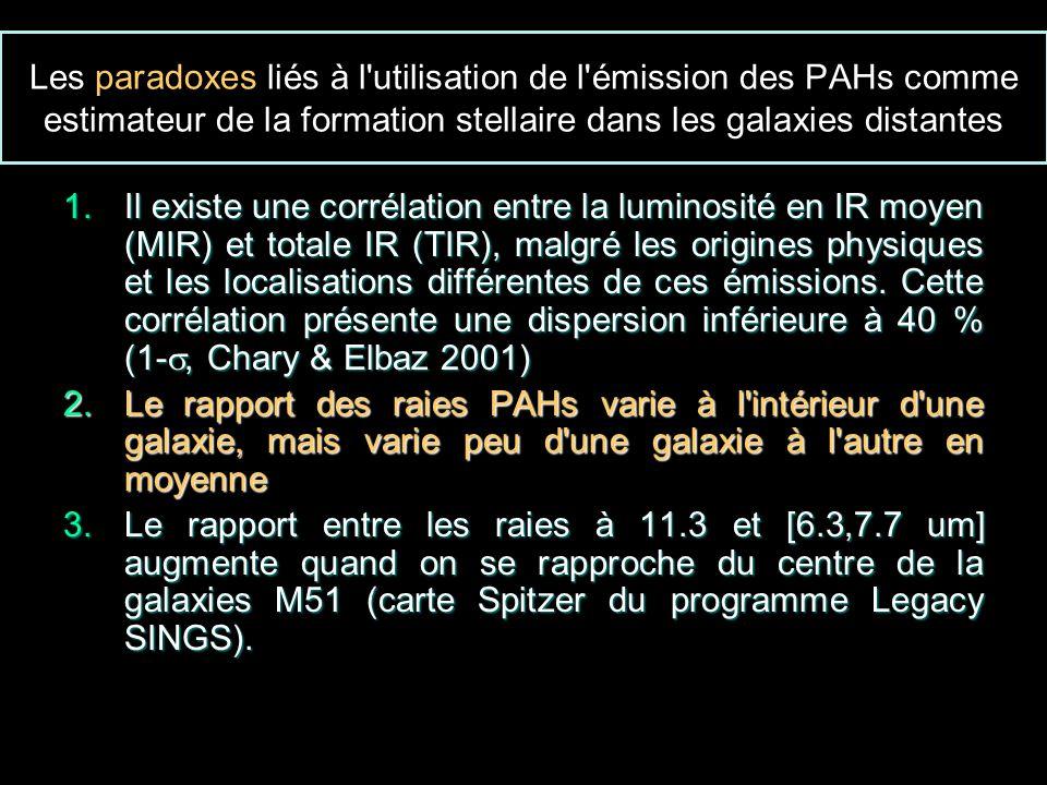 Les paradoxes liés à l utilisation de l émission des PAHs comme estimateur de la formation stellaire dans les galaxies distantes