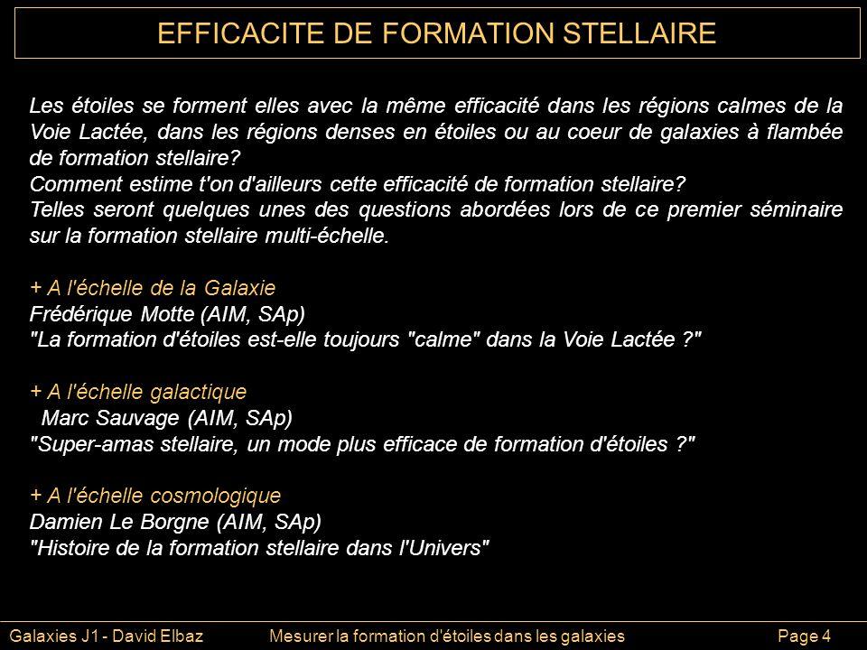 EFFICACITE DE FORMATION STELLAIRE