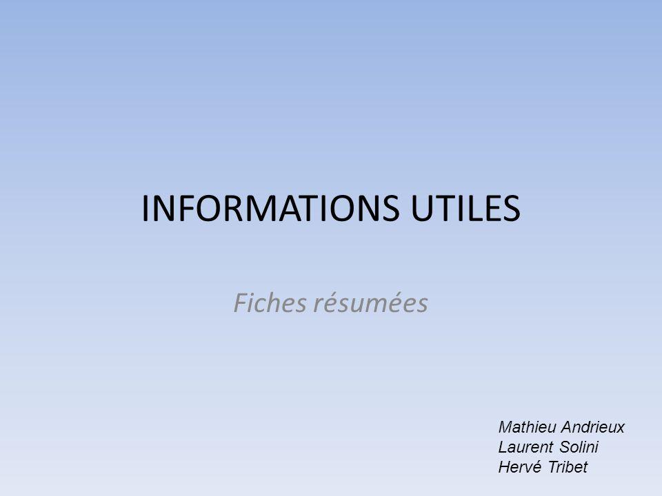 INFORMATIONS UTILES Fiches résumées Mathieu Andrieux Laurent Solini