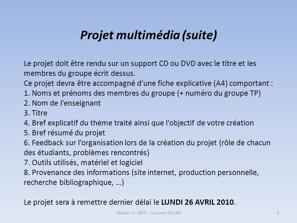 Projet multimédia (suite)