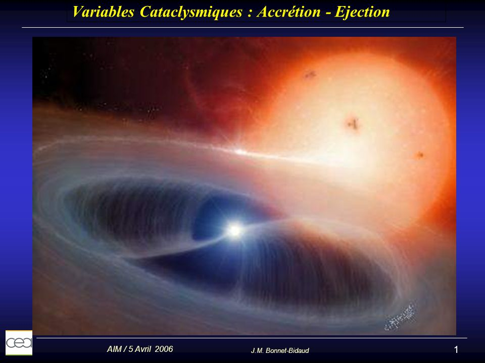 Variables Cataclysmiques : Accrétion - Ejection