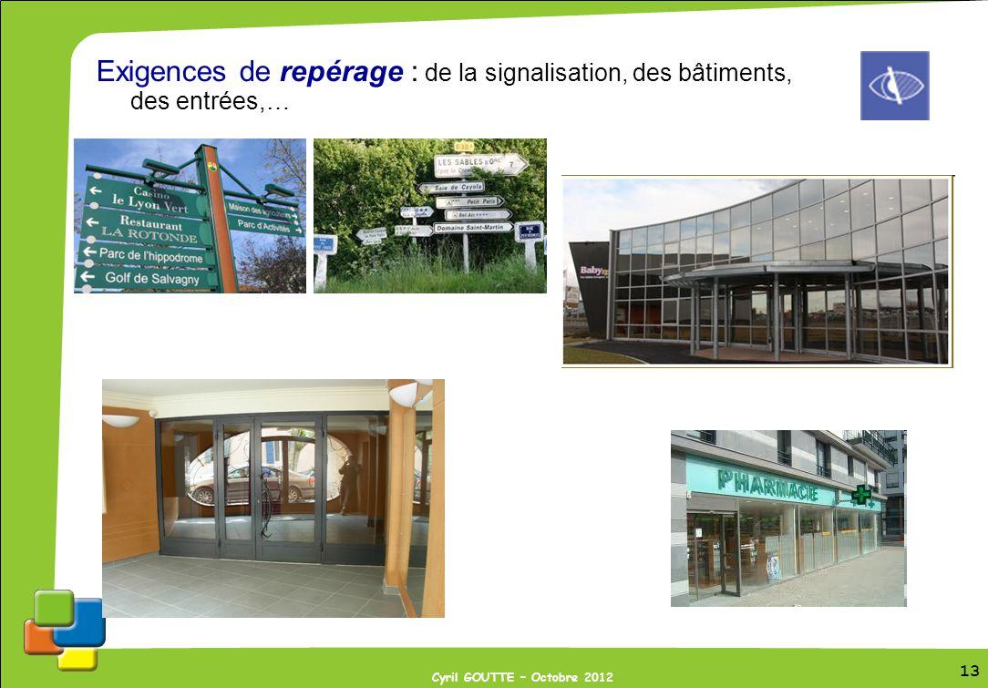 Exigences de repérage : de la signalisation, des bâtiments, des entrées,…