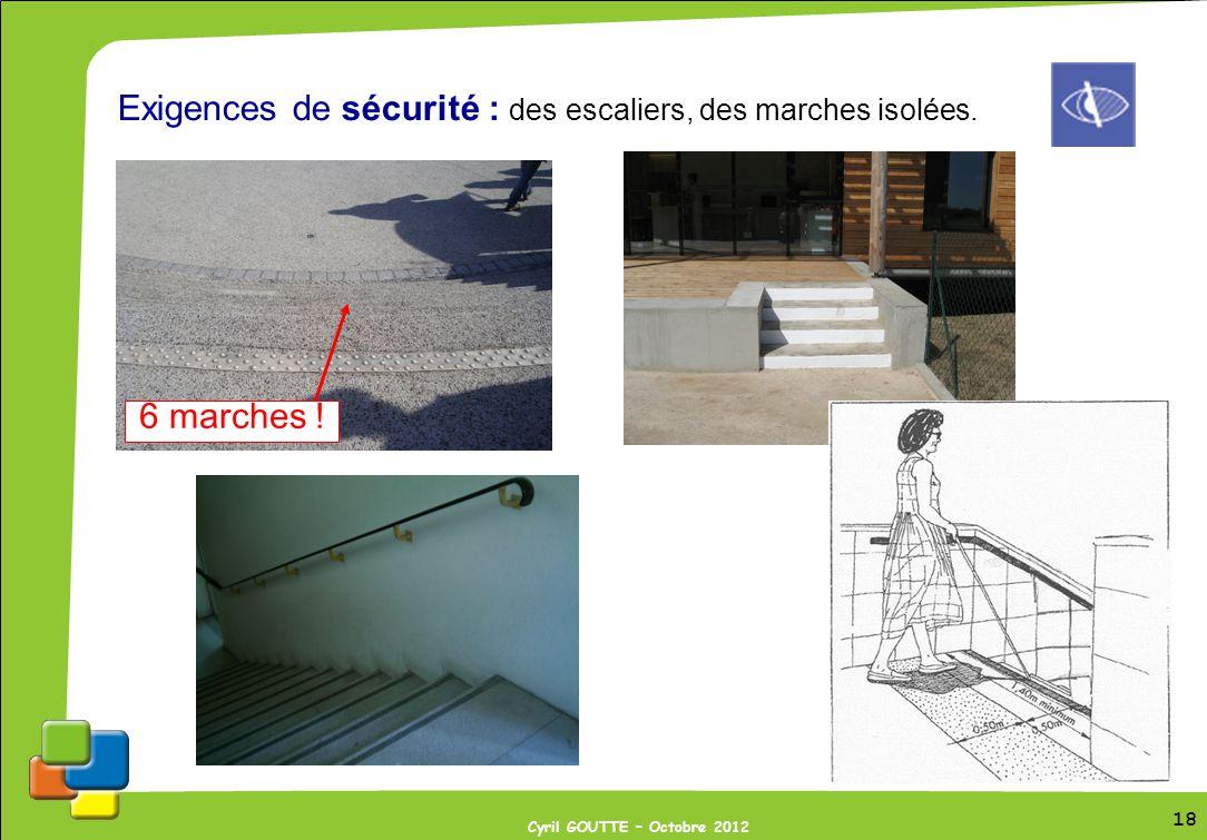 Exigences de sécurité : des escaliers, des marches isolées.