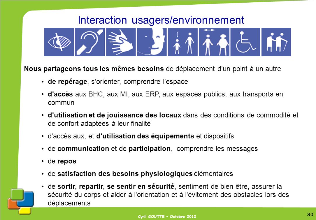 Interaction usagers/environnement