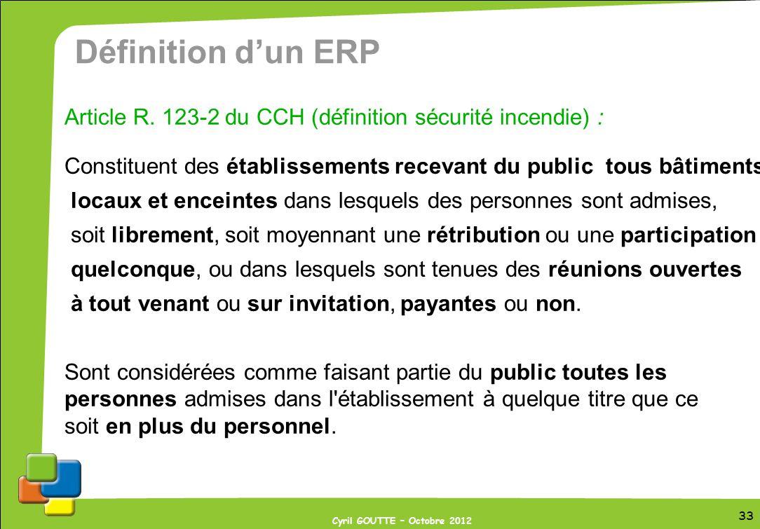 Définition d'un ERP Article R. 123-2 du CCH (définition sécurité incendie) : Constituent des établissements recevant du public tous bâtiments,