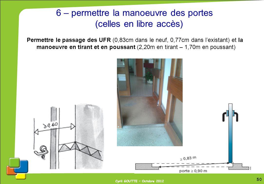 6 – permettre la manoeuvre des portes (celles en libre accès)