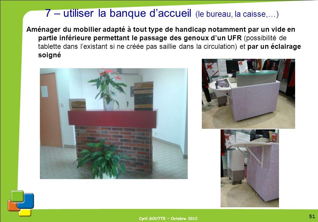 7 – utiliser la banque d'accueil (le bureau, la caisse,…)