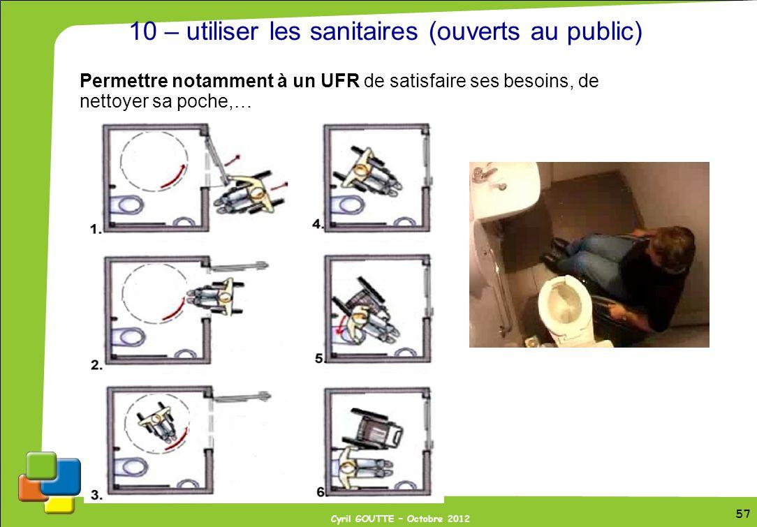 10 – utiliser les sanitaires (ouverts au public)
