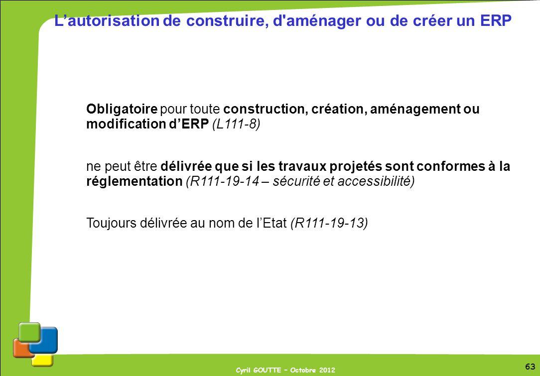 L'autorisation de construire, d aménager ou de créer un ERP