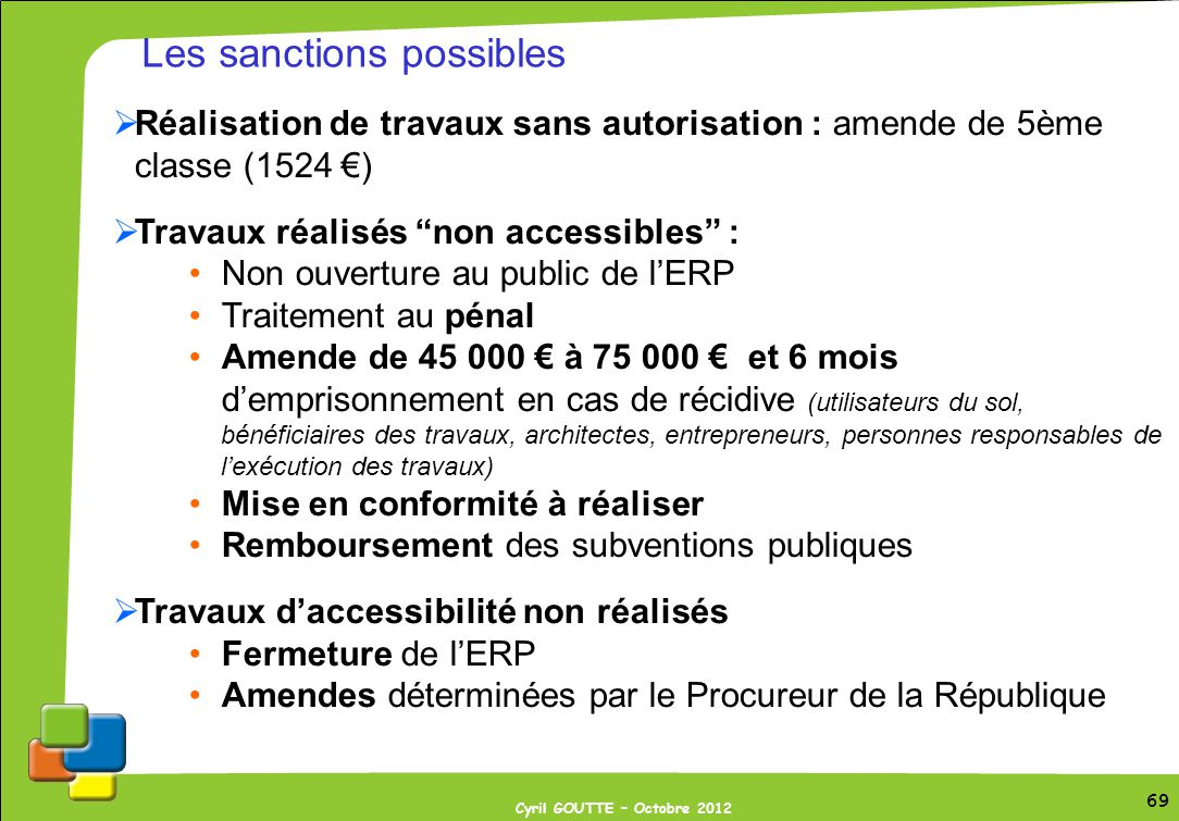 Les sanctions possibles