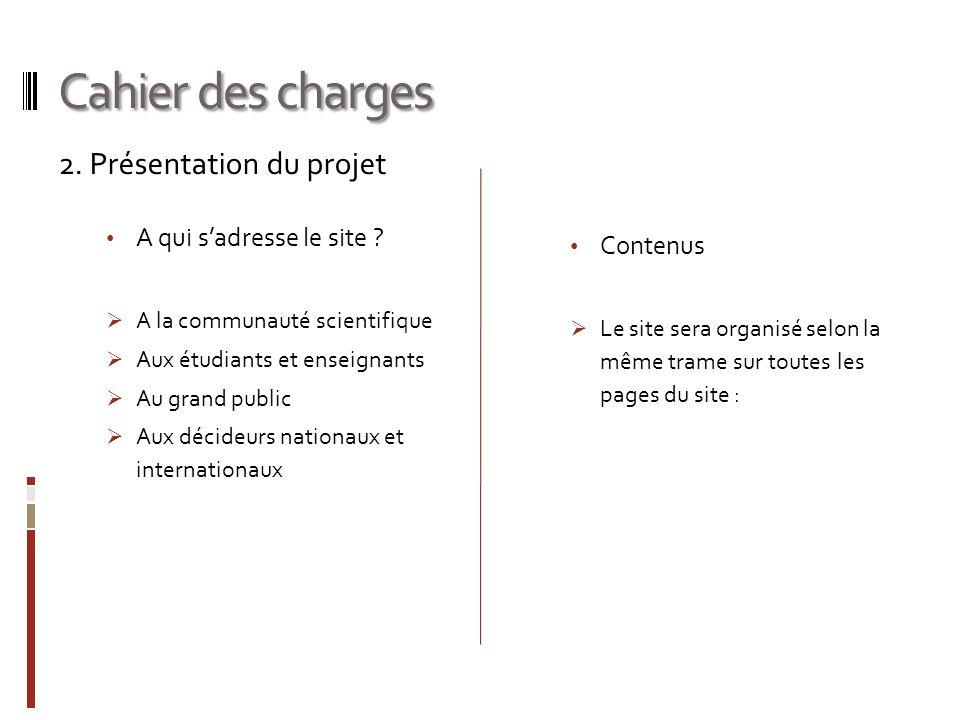 Cahier des charges 2. Présentation du projet A qui s'adresse le site