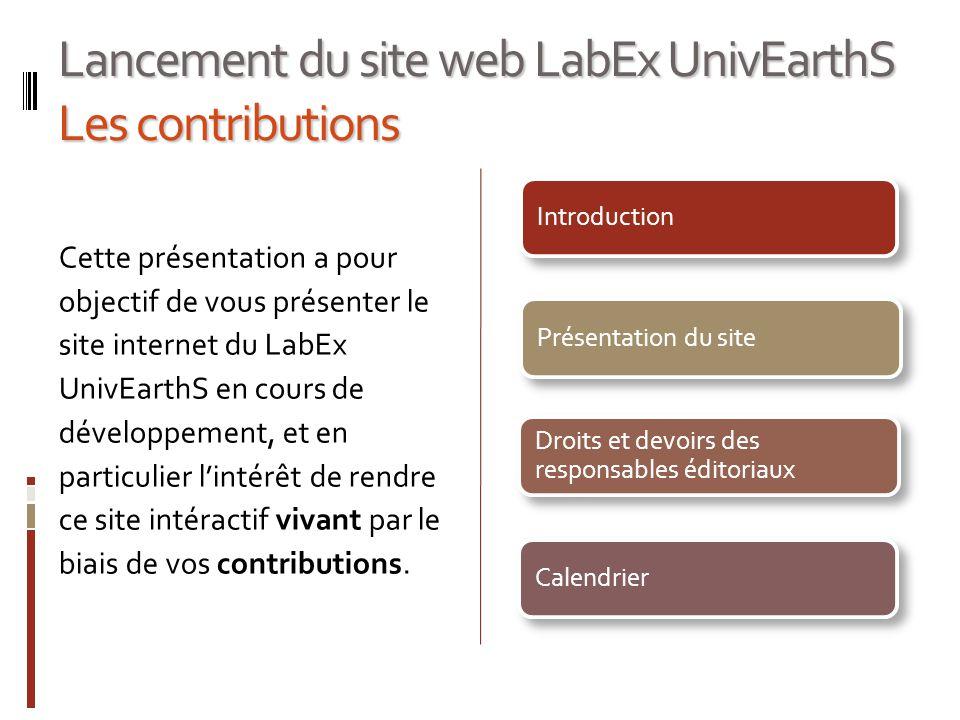 Lancement du site web LabEx UnivEarthS Les contributions