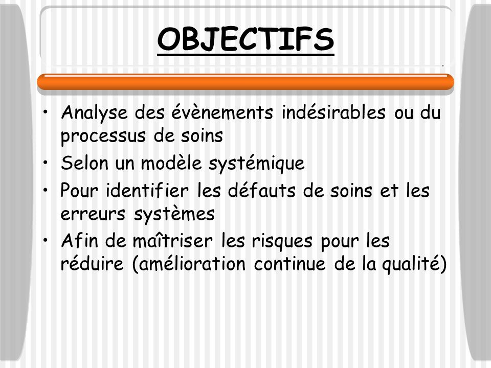 OBJECTIFS Analyse des évènements indésirables ou du processus de soins