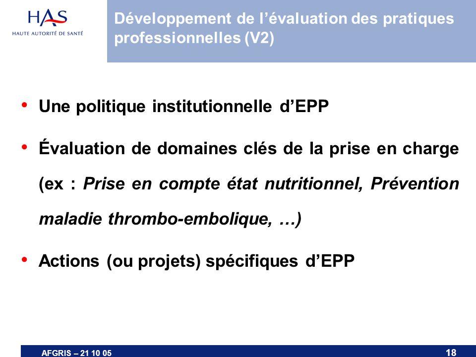 Développement de l'évaluation des pratiques professionnelles (V2)
