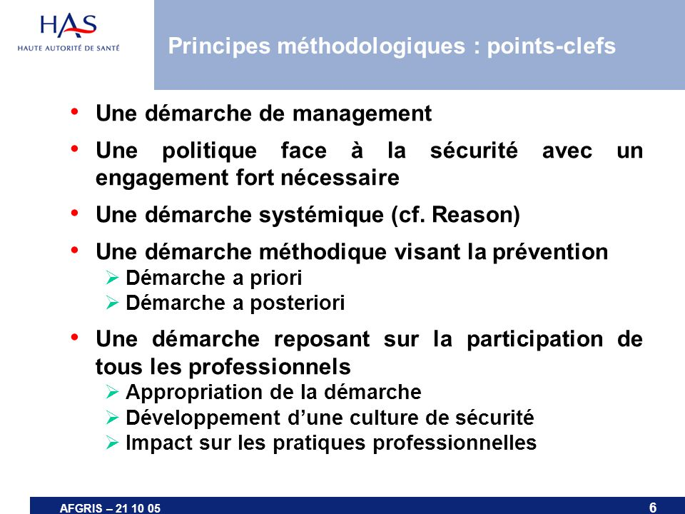Principes méthodologiques : points-clefs