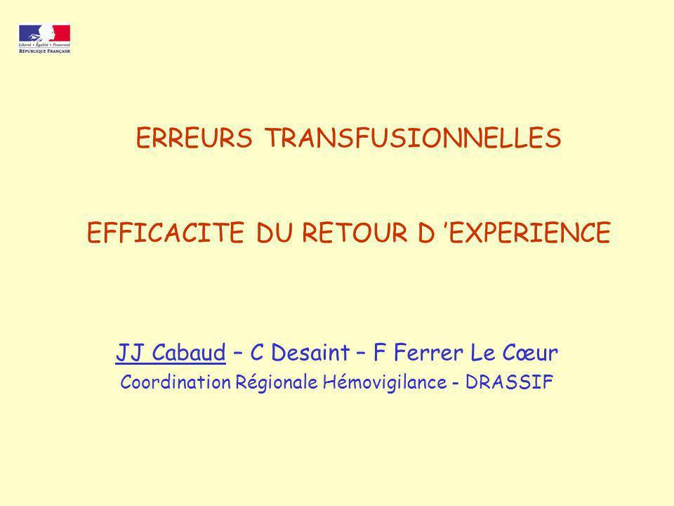 ERREURS TRANSFUSIONNELLES EFFICACITE DU RETOUR D 'EXPERIENCE