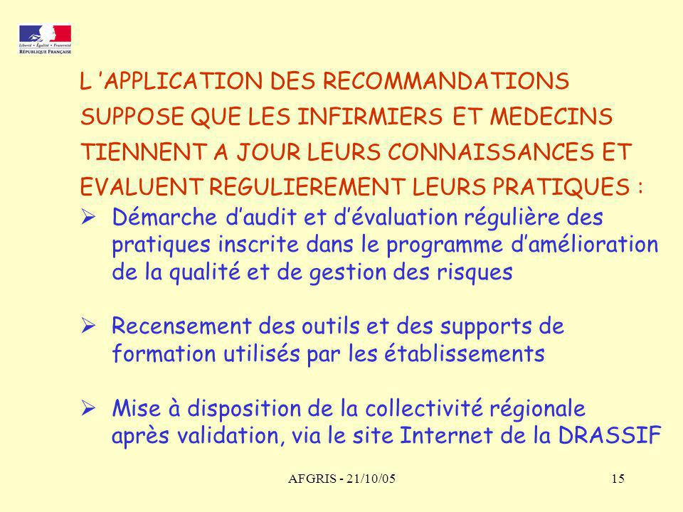 L 'APPLICATION DES RECOMMANDATIONS