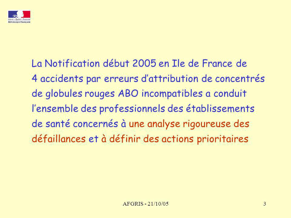 La Notification début 2005 en Ile de France de