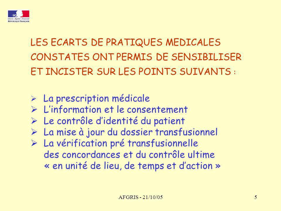 LES ECARTS DE PRATIQUES MEDICALES CONSTATES ONT PERMIS DE SENSIBILISER