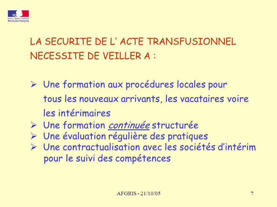 LA SECURITE DE L' ACTE TRANSFUSIONNEL NECESSITE DE VEILLER A :