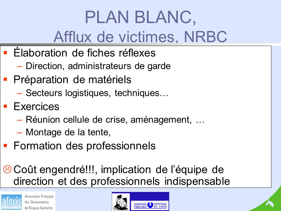 PLAN BLANC, Afflux de victimes, NRBC