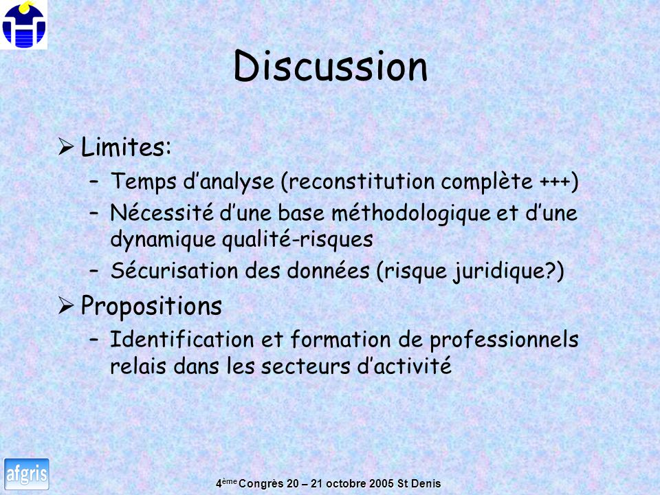 Discussion Limites: Propositions