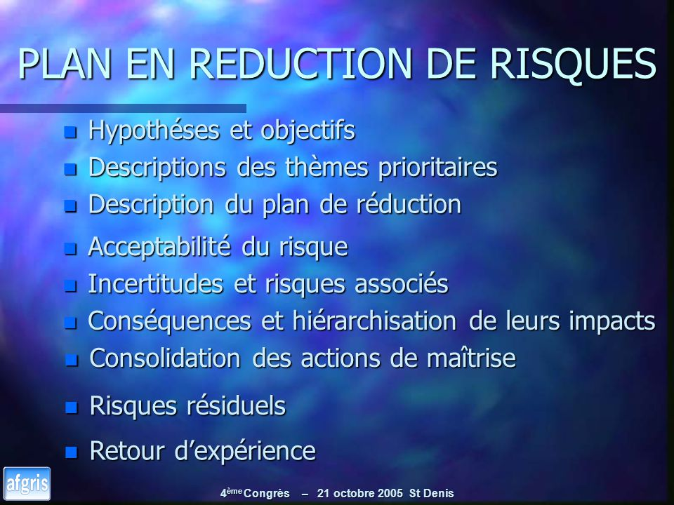 PLAN EN REDUCTION DE RISQUES