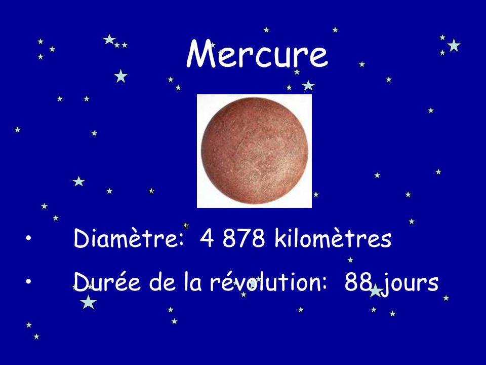 Mercure Diamètre: 4 878 kilomètres Durée de la révolution: 88 jours v
