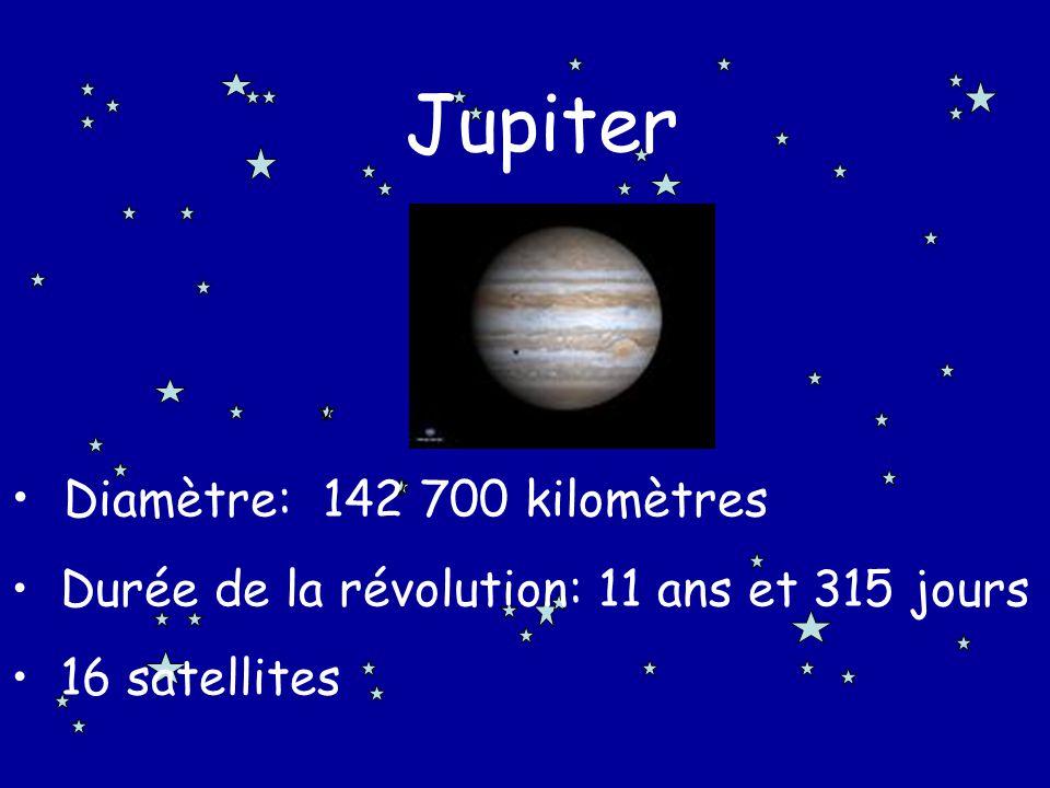 Jupiter Diamètre: 142 700 kilomètres