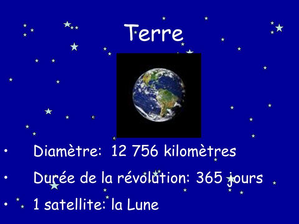 Terre Diamètre: 12 756 kilomètres Durée de la révolution: 365 jours
