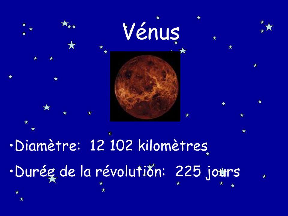Vénus Diamètre: 12 102 kilomètres Durée de la révolution: 225 jours v