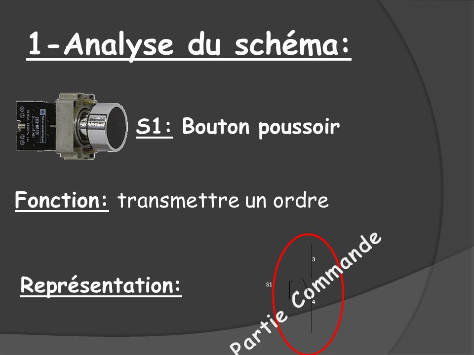 1-Analyse du schéma: S1: Bouton poussoir