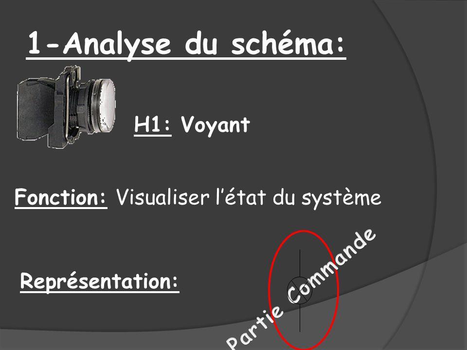1-Analyse du schéma: H1: Voyant Fonction: Visualiser l'état du système
