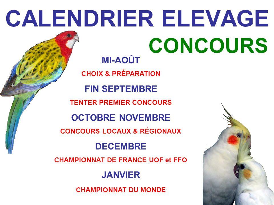 CALENDRIER ELEVAGE CONCOURS MI-AOÛT FIN SEPTEMBRE OCTOBRE NOVEMBRE
