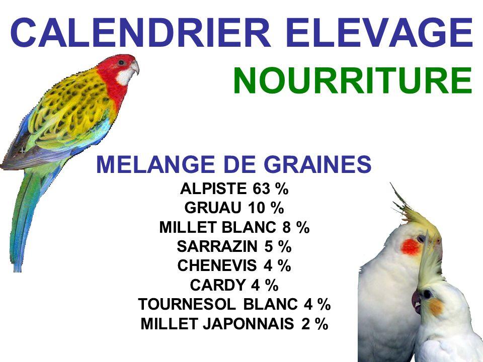 CALENDRIER ELEVAGE NOURRITURE MELANGE DE GRAINES ALPISTE 63 %