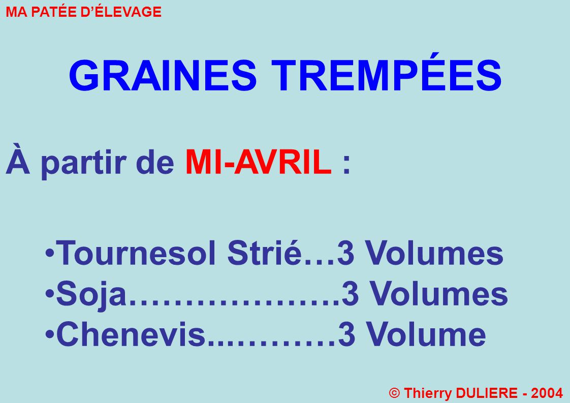 GRAINES TREMPÉES À partir de MI-AVRIL : Tournesol Strié…3 Volumes