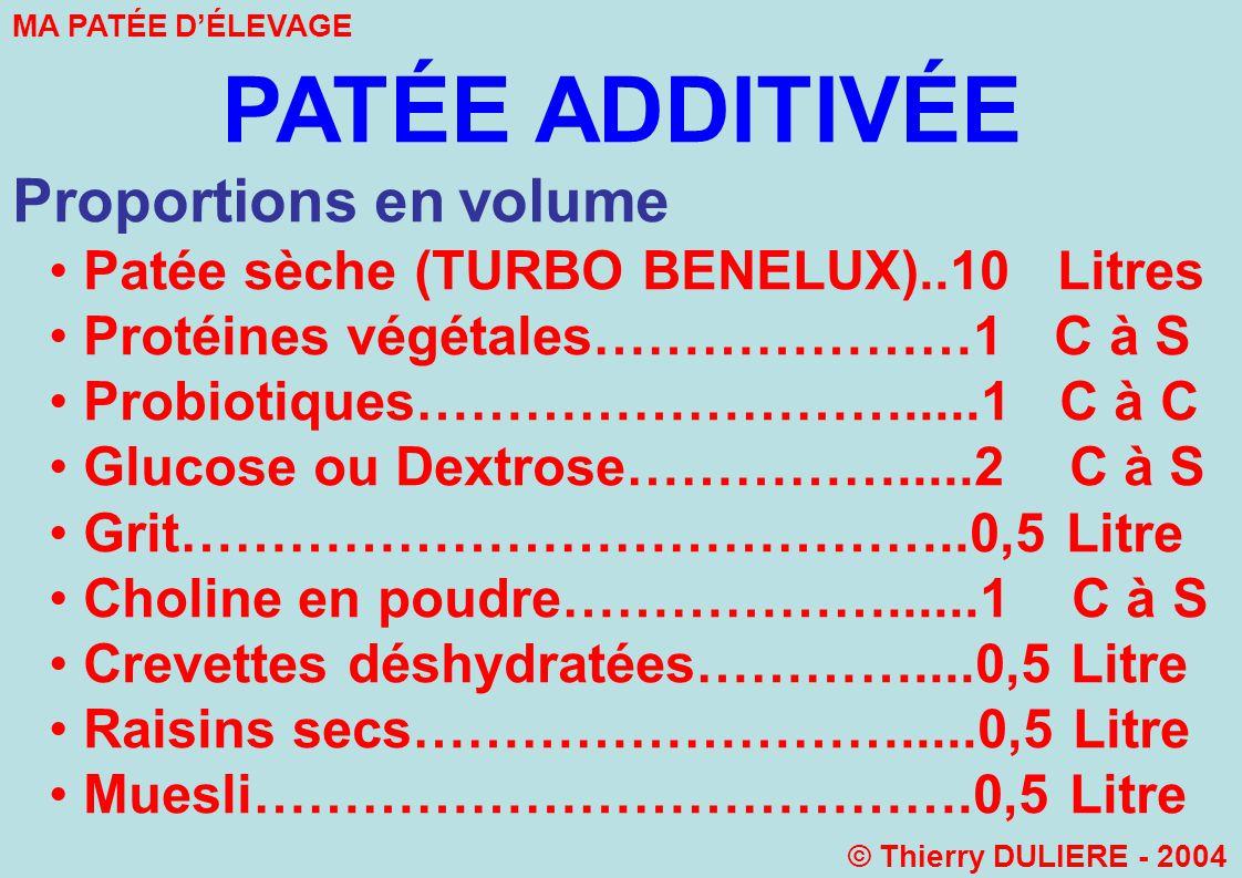 PATÉE ADDITIVÉE Proportions en volume