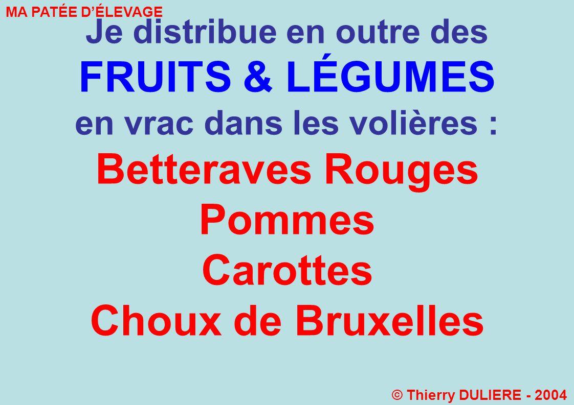Betteraves Rouges Pommes Carottes Choux de Bruxelles Endives….