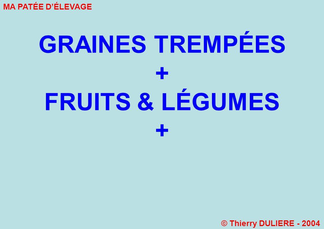 + FRUITS & LÉGUMES + GRAINES TREMPÉES MA PATÉE D'ÉLEVAGE
