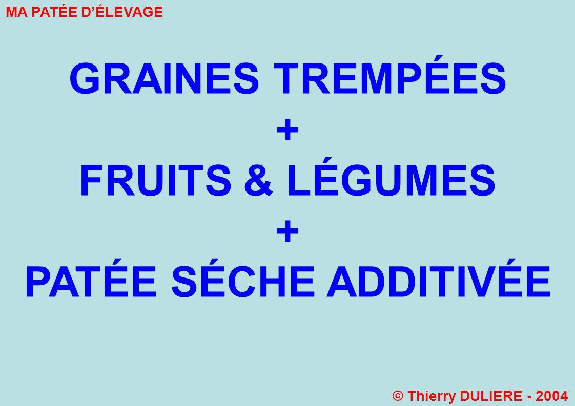 + FRUITS & LÉGUMES + PATÉE SÉCHE ADDITIVÉE