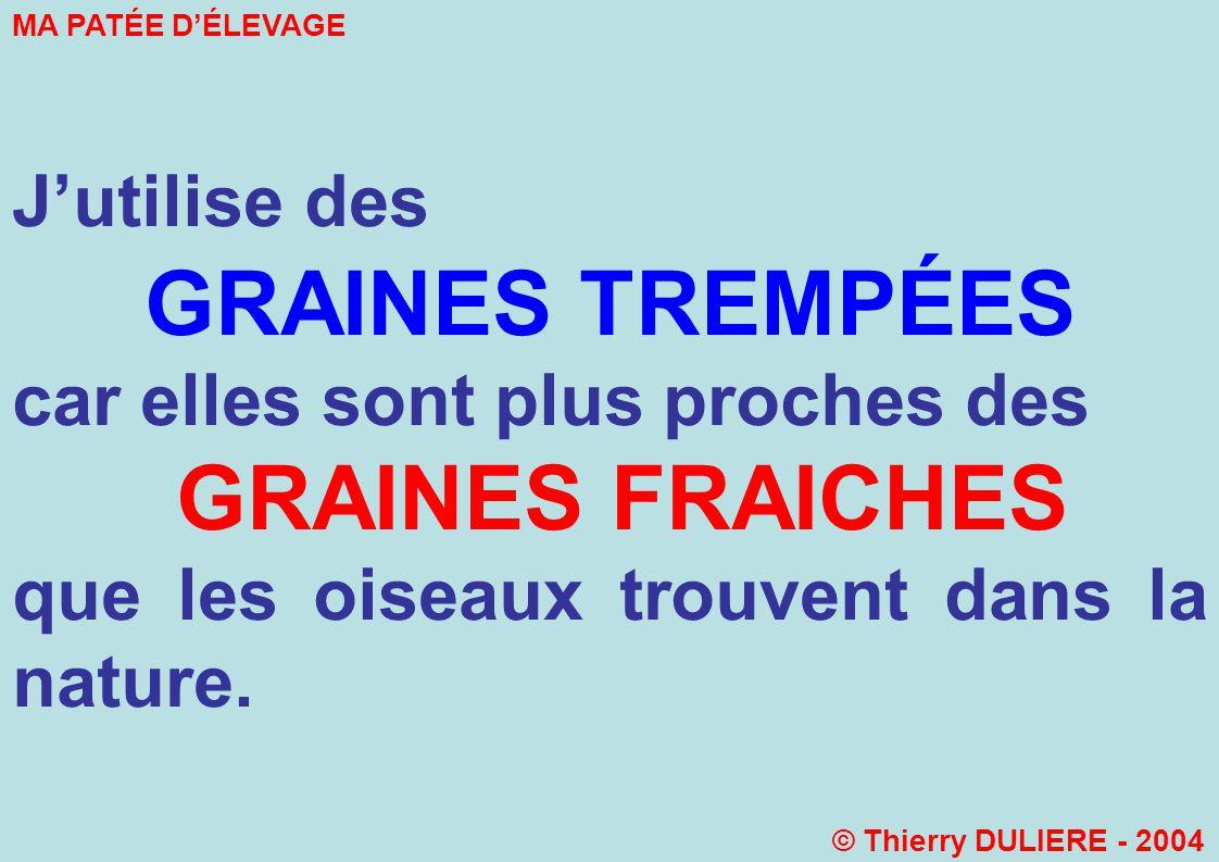 GRAINES TREMPÉES GRAINES FRAICHES