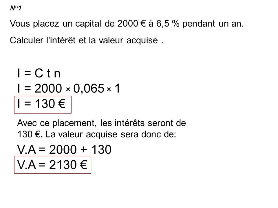 I = C t n I = 2000 × 0,065 × 1 I = 130 € V.A = 2000 + 130 V.A = 2130 €