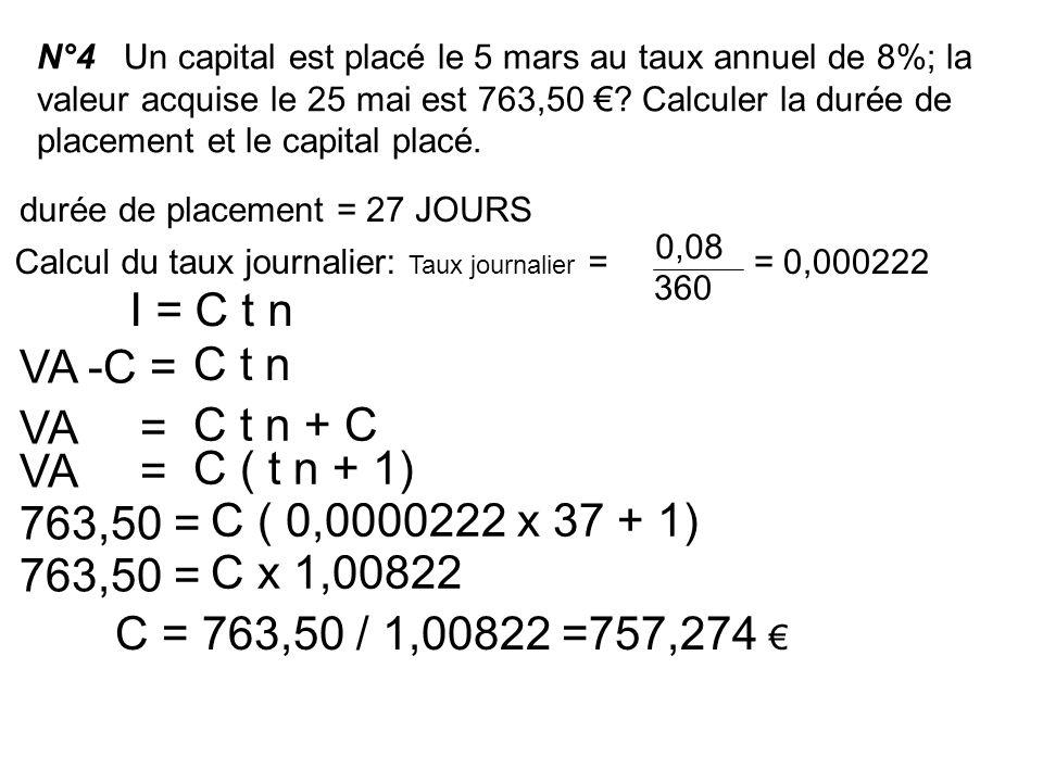 I = C t n VA -C = C t n VA = C t n + C VA = C ( t n + 1) 763,50 =