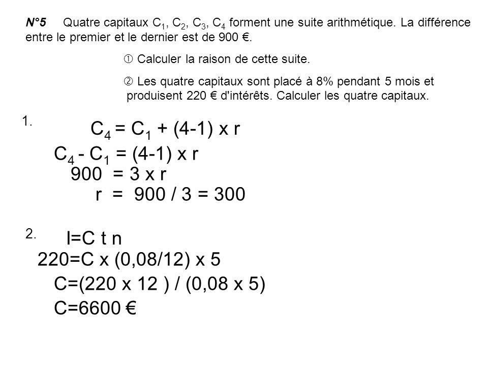 C4 = C1 + (4-1) x r C4 - C1 = (4-1) x r 900 = 3 x r r = 900 / 3 = 300