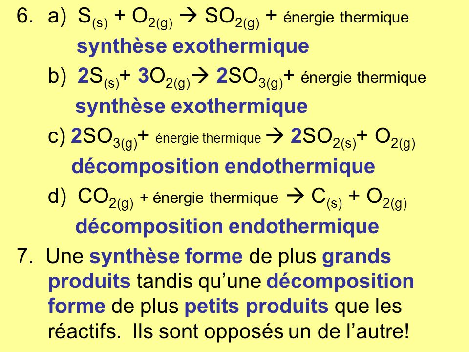 a) S(s) + O2(g)  SO2(g) + énergie thermique