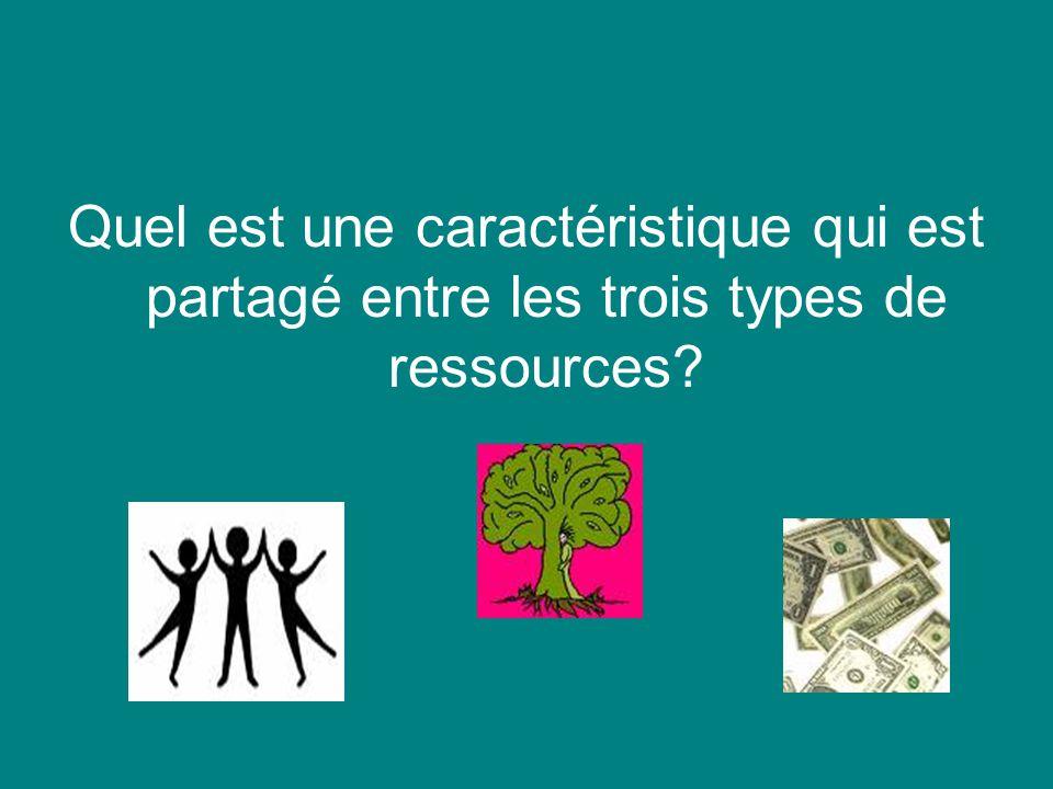 Quel est une caractéristique qui est partagé entre les trois types de ressources