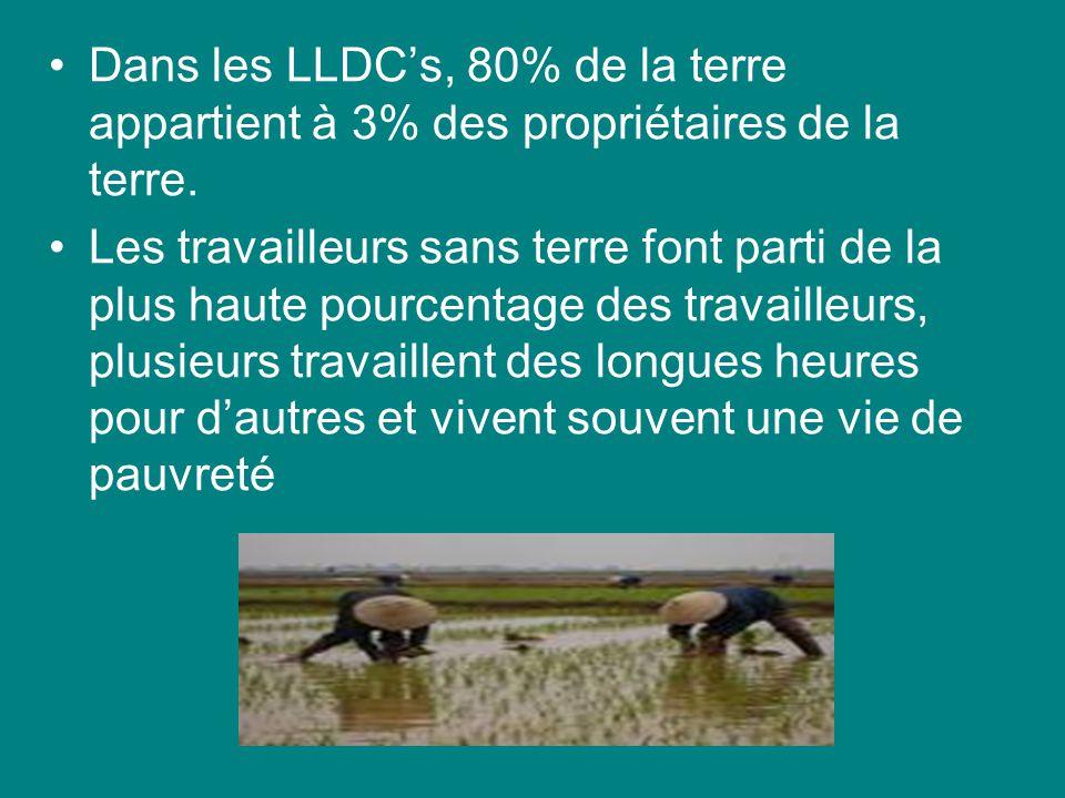 Dans les LLDC's, 80% de la terre appartient à 3% des propriétaires de la terre.