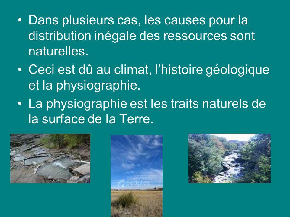 Dans plusieurs cas, les causes pour la distribution inégale des ressources sont naturelles.